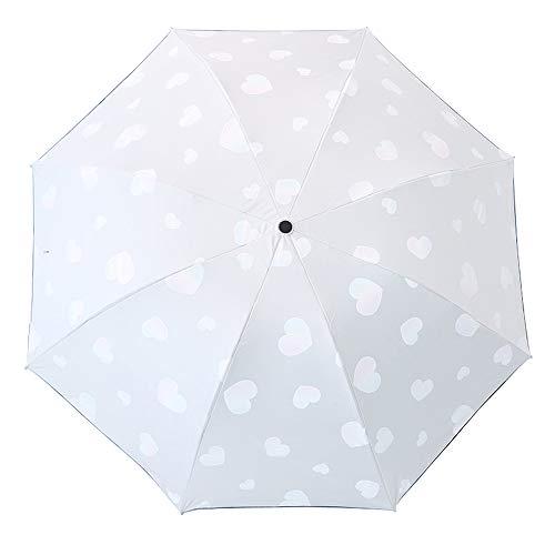 die Farbe Wechseln bei N/ässe Windfest Herz-Muster 8 Verst/ärkten Rippen Kompakte Design Lirener Farbwechsel Regenschirm Faltbar Kompakt Vinyl Sonnenschirm UV-Schutz Winddicht Regenschirm