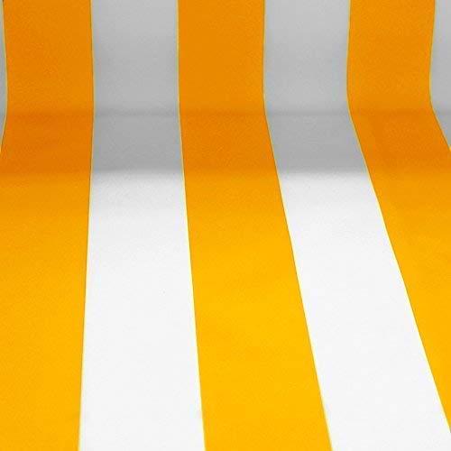 NOVELY® Sunrise Oxford 420D Markisenstoff | extrem reißfestes und dichtes Gewebe | UV-beständig (4-5 von 8) | Polyester Stoff Outdoor Meterware Strandkorb Zeltstoff wasserdicht (Weiß-Sonnengelb)