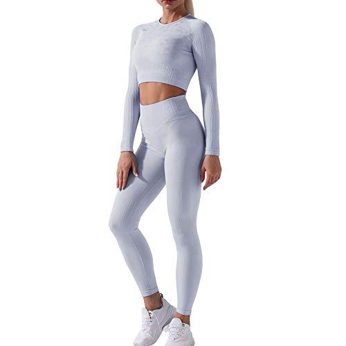 NIBESSER Sportanzug Yoga Trainingsanzug 2 Stücke Damen Sportbekleidung Nahtloser Langarm Sport-Tops Sport Bekleidungssets Frau Jogginganzug (Silber,L)
