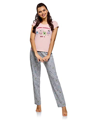Oodji Ultra Mujer Pijama Algodón Pantalones, Rosa