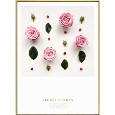 SDFSD Moderne romantische Rose Blume Leinwand Gemälde grünes Blatt Poster drucken nordische Wandkunst Bilder für Schlafzimmer Home Decor 55x75cm