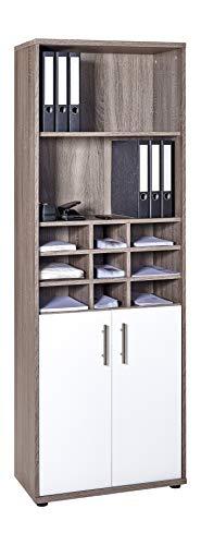 Möbelpartner Armario archivador 701685, Decoración de Roble trufado/Blanco Brillante, ca. 65,1 x 34,5 x 182,4 cm