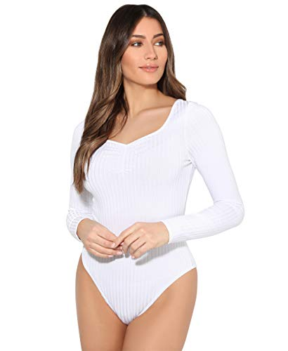 KRISP Body Mujer Básico Escote Barato Top Camiseta Ajustado Elástico Manga Larga