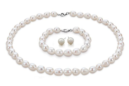 FAB Elegant 8mm Rice Shape Freshwater Pearl Necklace Bracelet and earrings Tri Set (White)