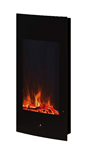 Noble Flame Detroit - Elektrokamin Wandkamin Kamin-Ofen – 408 mm breit inkl. Elektroeinsatz mit Heizfunktion - Ambiente-Wandbeleuchtung - schwarz
