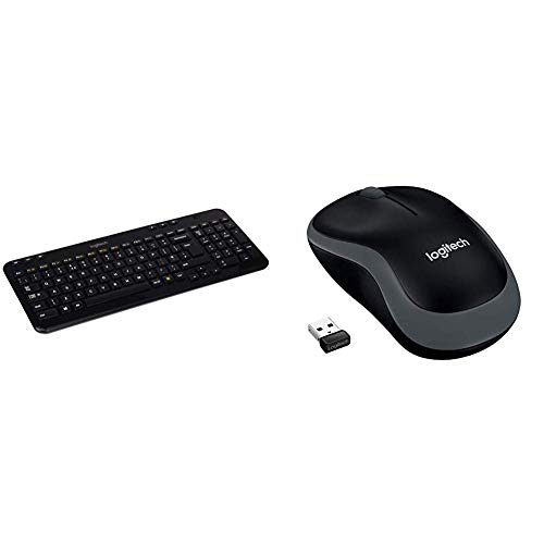 Logitech K360 Wireless Keyboard - Black, UK layout & M185 Wireless Mouse USB for PC Windows, Mac and Linux, Grey with Ambidextrous Design