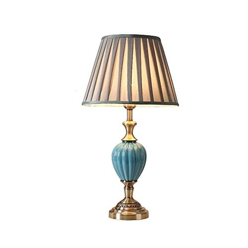 YCZDG Lámpara de Mesa Moderna Minimalista Dormitorio Mesita de Noche Lámpara, Lámpara de Mesa de cerámica, Pantalla de Tela Plegable clásica, Mesa de aleación de Bronce Lámpara de Mesa de Noche