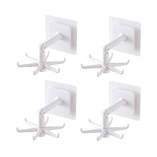 TTCPUYSA 4Pcs Nail-Free 360° Rotating Folding Hook,Adhesive Hooks Sticky Wall Hooks,Reusable Utility Hooks for Hanging Kitchen Bathroom Home (White)