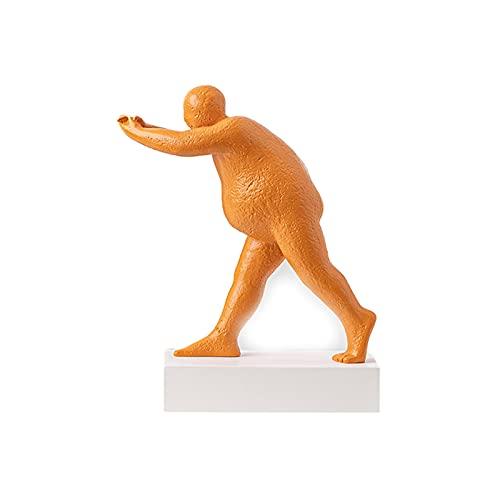 Escultura de estilo moderno, livrarias para escultura de corpo humano, livrarias para mesa, têxteis domésticas, adequado para coração de escritório, decoração de estantes (Color : Orange)