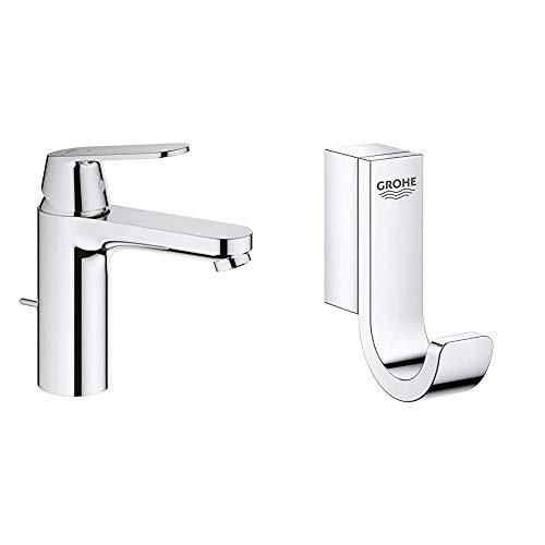 Grohe Eurosmart 2339600E - Grifo de lavabo con vaciador automatico, M + Grohe Selection - Colgador, cromo (41039000)