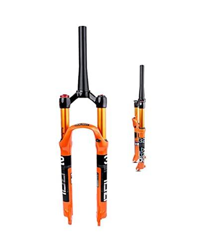 Fahrrad-Vordergabel-Stoßdämpfer Gasgabel Mountainbike-Stoßdämpfergabel Magnesium-Aluminium-Legierung Hub 120mm Schultersteuerdraht-Steuerungsschloss(Color:Vertebrae/A,Size:29'')