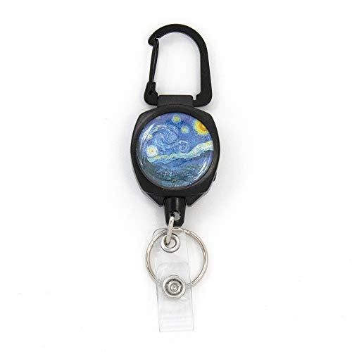 Buttonsmith Van Gogh Starry Night Sidekick Retractable Badge Reel - Extra Heavy Duty - Carabiner and Key Ring - Made in The USA