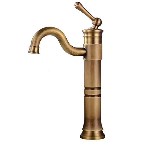 JRUIA Grifo de lavabo alto, latón antiguo, grifo de baño de una sola palanca, grifo mezclador para cuarto de baño, caño alto, giratorio 360°