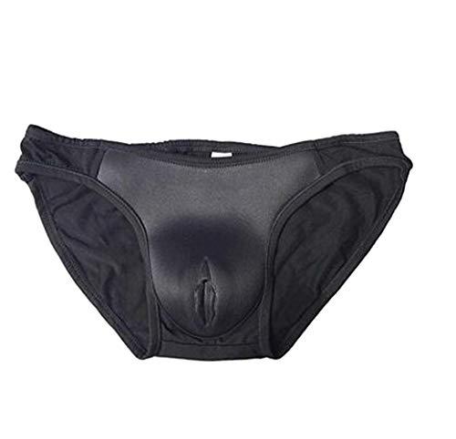 Ajusen Sexy Cacher Gaff Faux vagin Chaussons pour Transgenre Crossdresser Shemale (Black, S)
