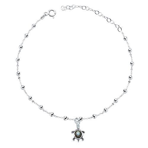 Iyé Biyé Jewels - Tobillera Mujer niña Tortuga con Abalon Plata de Ley 925 Cadena Bolas 21+5 cm Ajustable