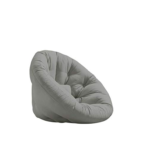 Nido Futon Chair by Karup Design - Grey - with Handmade Comfort Mattress, Compact, L33.5 x W37.4 x H27.6
