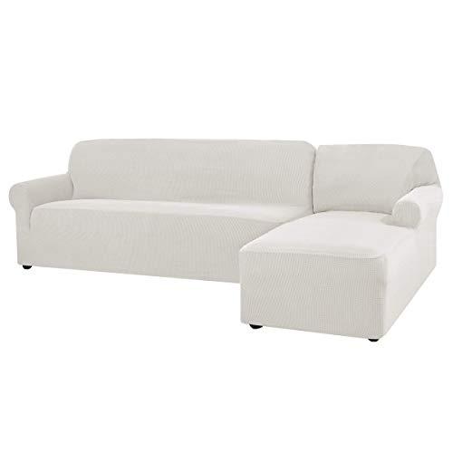 CHUN YI Sofa Überwürfe Sofabezug L Form Elastisch Jacquard Sofahusse für Ecksofa stretchbezug Couch mit 2 Stücke Abdeckhaube Sofaschoner (Rechts 2-Sitzer, Creme)