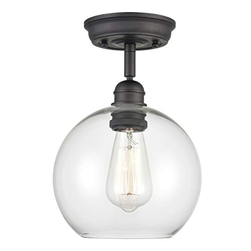 WILDSOUL Lighting 60011OB 1-Light Globe Glass Semi Flush Mount, Modern and Industrial Sloped Ceiling Compatible Entry Hallway Kitchen Ceiling Light Fixture, Oil Rubbed Bronze, 7-7/8' Width