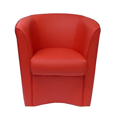 Poltrona Imbottita Valentina a pozzetto in Ecopelle per Ufficio Sala d'attesa Alta qualità Made in Italy (Rosso)