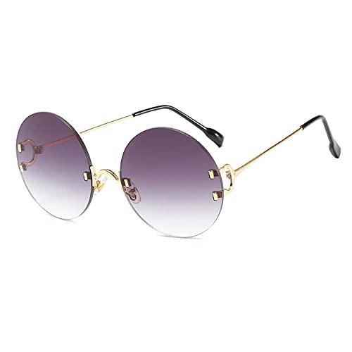 ShZyywrl Gafas De Sol Gafas De Sol para Mujer Gafas De Sol con Espejo De Color Oceánico Gafas De Sol con Montura Metálica para Mujer Gafas Circulares 2