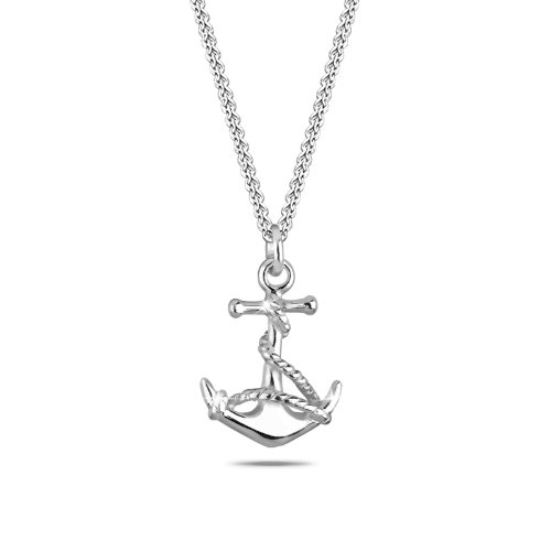 Elli Damen Halskette mit Anker Anhänger Maritim Meer Symbol See in 925 Sterling Silber - 45cm Länge