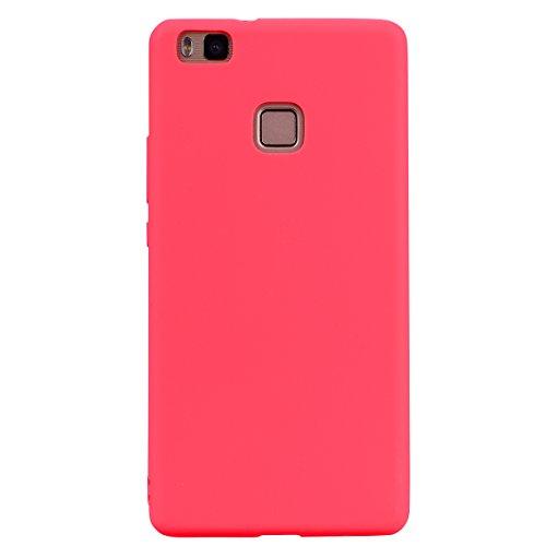 cuzz Funda para Huawei P9 Lite+{Protector de Pantalla de Vidrio Templado} Carcasa Silicona Suave Gel Rasguño y Resistente Teléfono Móvil Cover-Rojo