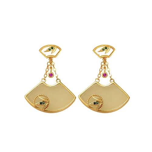 GaYouny Earings S925 Silver Silver Gold-Chapado Hetian Jade Pendientes con Forma De Fan Pendientes For Mujer For Novia Joyería De Regalo De Cumpleaños