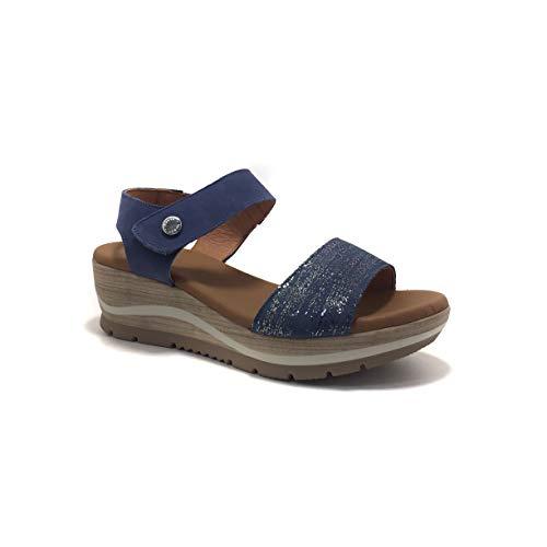 PAULA URBAN 1-8219, Sandalias para Mujer, cuña, Planta de Gel, Color Azul. - Cuero Talla: 39