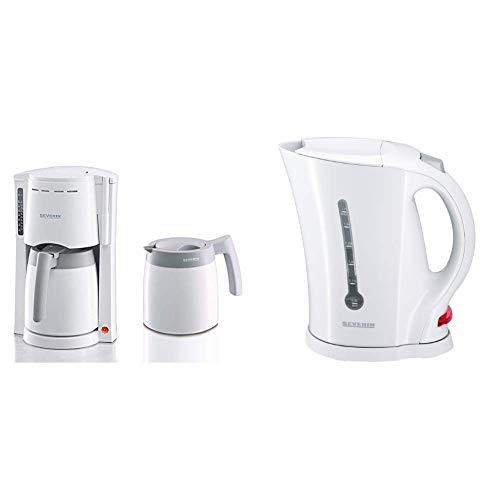 SEVERIN Kaffeemaschine, Für gemahlenen Filterkaffee, 8 Tassen, Inkl. 2 Thermokannen, KA 9233, Weiß & WK 3482 Wasserkocher (ca. 2.200 W, 1,7 L) weiß
