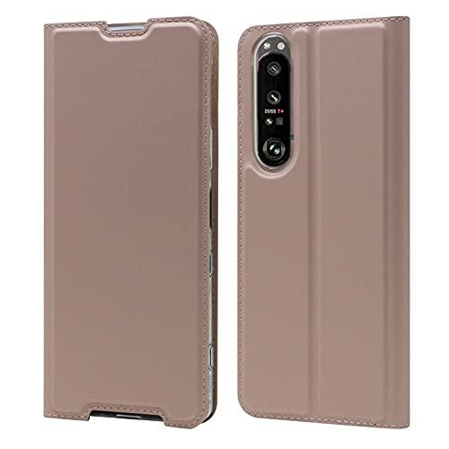 Zouzt Funda compatible con Sony Xperia 1 III 5G, piel sintética, ultrafina, con cierre magnético, función atril, ranura para tarjeta para Sony Xperia 1 III 5G, color rosa dorado