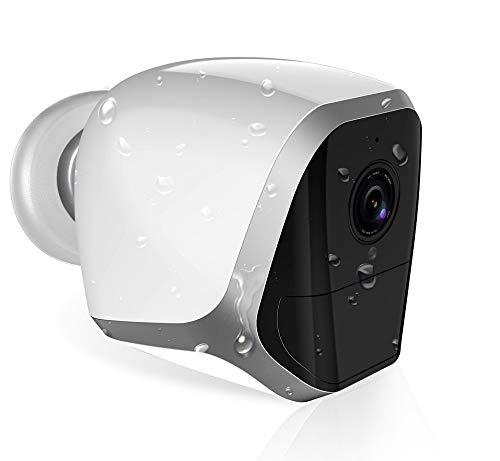 HaWoTEC 1080p kabellose WLAN Überwachungskamera Kamera für Überwachung mit Batterie Akku IP65 bis 6 Monate Betriebsdauer Mikrofon 128GB 2-Wege Audio Outdoor Wasserdicht Bewegungserkennung App
