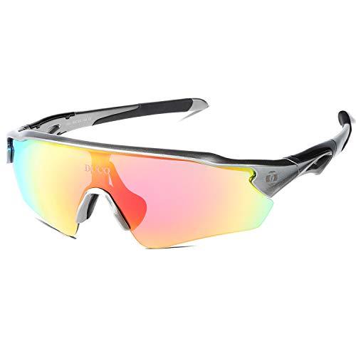 DUCO Radsportbrille Outdoor Sonnenbrille für Sportler polarisierte 5 austauschbare Gläser UV400 0021 (Grau)