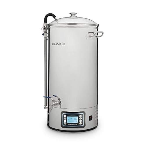 KLARSTEIN Mundschenk - cuve à moût, système de brassage de bière, chauffage de 3000 W, 50 L, 6 programmes, MemoryBrew, écran LCD, inox 304, avec tamis et récipient à grains - argent