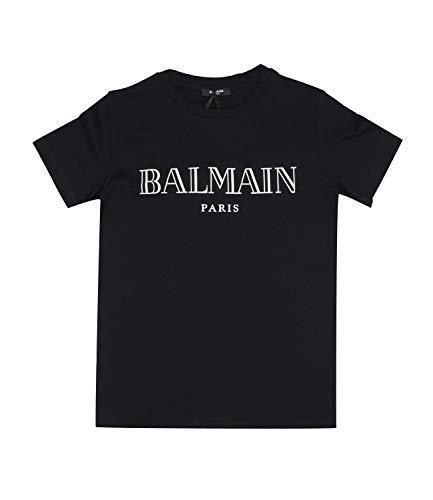 Balmain T-Shirt nera in Cotone Con Logo Bambino Junior Boy Mod. 6M8721 12A