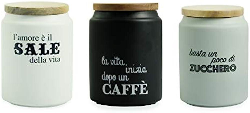 Villa d'este, set barattoli per caffe`, zucchero, sale, in gres porcellanato , tappo in bamboo 2195579