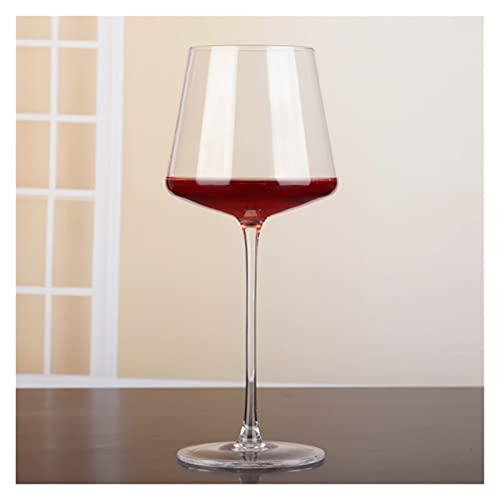 Vaso de vino tinto simple de gama alta de 400 a 500 ml, sin plomo, cristal de cristal, copa de vino, bebidas, bar, restaurante y hogar (color: transparente)