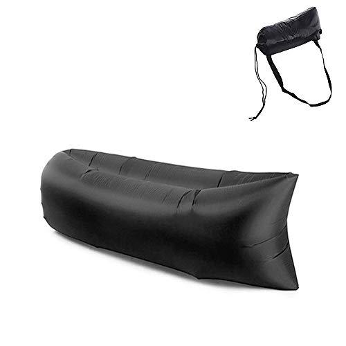 Desire Klappbares Luftsofa für den Außenbereich, aufblasbarer Liegestuhl, Schlafsofa, Reise, Camping, Wandern, Schwimmbad, Strandparty (8 Farben) (schwarz)