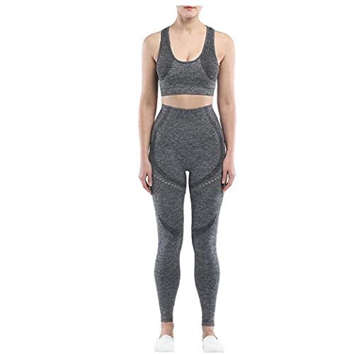 NIDONE Ropa para el Atletismo inconsútil de la Yoga de Las Mujeres del Vestido Ejercicio Conjunto de Talle Alto Legginngs Pantalones Crop Top Gris Oscuro S 2 Piezas