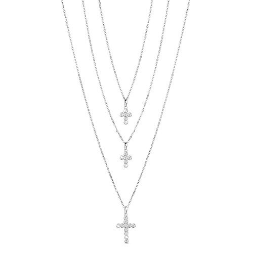 SHEGRACE 925 Sterling Silver Multi Layered Necklace with Three Cross AAA Zircon Pendant for Woman, Jewerlly for Women