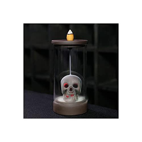 LLSL Creative a Prueba de Viento LED Pantalón LED Cabeza de cráneo Púrpura Clay Backflow Incienso Incienso, sin batería, Adecuado para decoración del hogar/Regalo