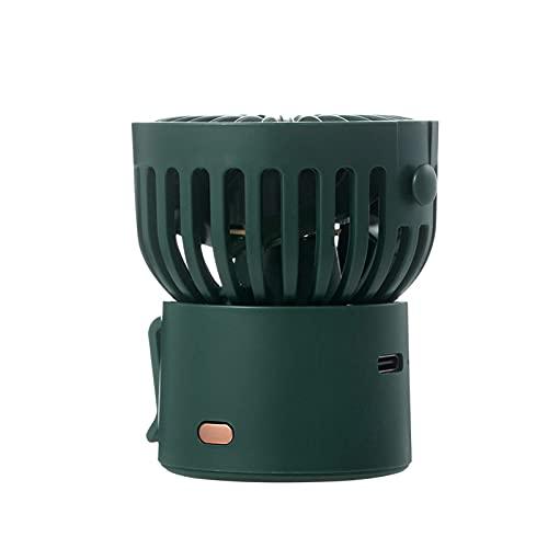 HAIMING Mini Ventilador de Cuello portátil Ventilador inalámbrico USB Recargable Recargable Ventilador 1000mAh Batería refrigerador de Aire Desktop Fan de Mano al Aire Libre (Color : Green)