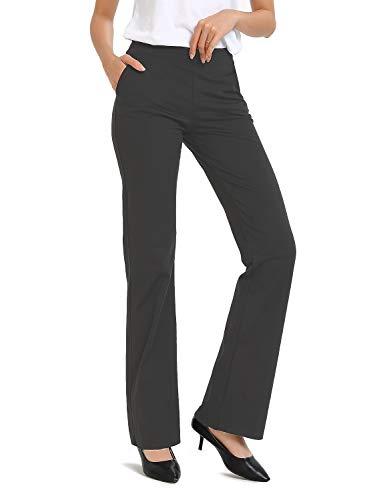 Safort Regular/Tall Bootcut Yoga Hose mit 71cm/76cm/81cm/86cm Schrittlänge, Dressy, Zwei Taschen, Grau, L