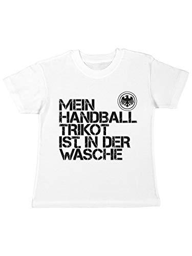 clothinx Kinder T-Shirt EM 2020 Mein Handball Trikot ist in der Wäsche Weiß/Schwarz Größe 140