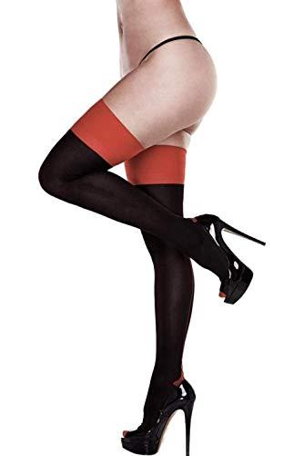 Baci Halterlose Strümpfe schwarz mit rotem Abschluss Damen