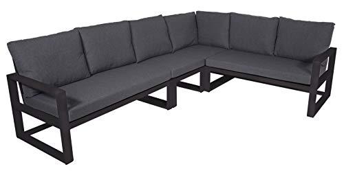 lifestyle4living Gartenbank 6-Sitzer aus Aluminium in anthrazit inkl. Kissen in grau. Die Loungebank ist wetterfest…