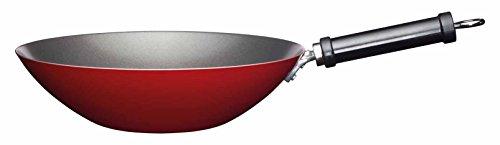 """Kitchencraft World of Flavours chino antiadherente de acero al carbono Wok, 30cm (12""""), color rojo"""