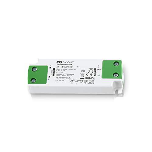 conecto LED Netzteil Transformator - 12 Volt LED-Trafo für LED Leuchtmittel und Lampen 20 Watt - Slimline