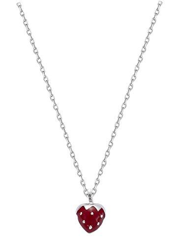 Anhänger aus Sterling-Silber 925/000und Emaille Erdbeere rot–Schmuck Damen Kinder Mädchen