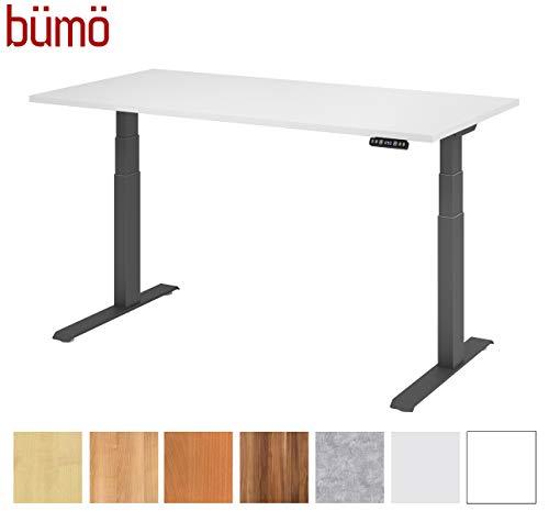bümö® Sitz & Steh Schreibtisch elektrisch höhenverstellbar mit Memoryfunktion (Tischplatte: Weiß | Gestell: Graphit, 160 x 80 cm)