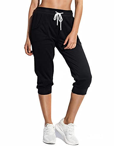 SPECIALMAGIC Women's Sweatpants Cropped Jogger French Terry Running Pants Lounge Loose Fit Drawstring Waist with Side Pockets Black XL